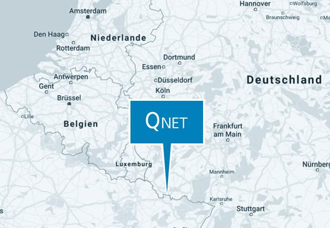 Position Q Net auf Europakarte